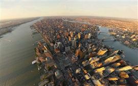 Nova Iorque, arranha-céus, rio, edifícios, vista superior, EUA