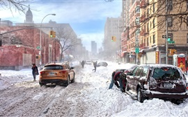Preview wallpaper New York, winter, thick snow, road, city, cars, buildings, cold, USA