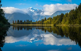 Preview wallpaper New Zealand, lake, water reflection, mountains, trees, clouds