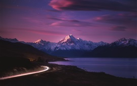 Preview wallpaper New Zealand, road, light, mountains, sea, night