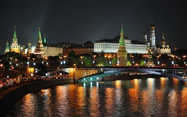 Night, Moscow, city, river, bridge, lights, Russia
