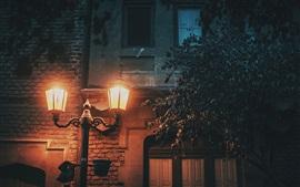 Night, house, wall, lamp, light