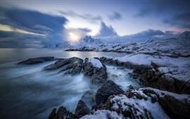 Nordland, Noruega, Lofoten, mar, inverno, neve, pôr do sol