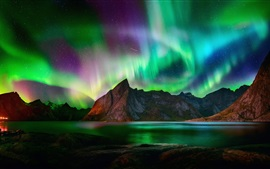 Northern lights, beautiful night, mountains, lake, starry