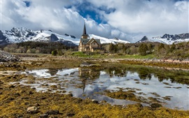 Norway, Lofoten Cathedral, pond, mountains, snow, clouds