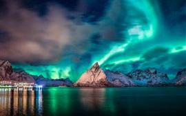 미리보기 배경 화면 노르웨이, 노르 트 랜드, 바다, 산, northlight, 아름다운 밤