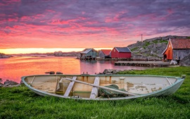 Preview wallpaper Norway, Rogaland, boat, red clouds, houses, sunset
