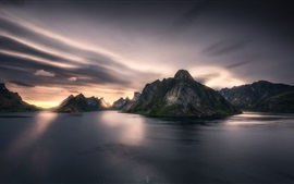 Preview wallpaper Norway, fjord, mountains, sea, clouds, sunset