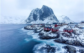 Preview wallpaper Norway, mountains, rocks, village, snow, winter, sea