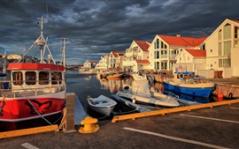 Preview wallpaper Norway, pier, Akrehamn, boats, clouds
