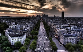 Preview wallpaper Paris, France, street, house, clouds, dusk