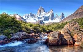 Patagônia, neve, montanhas, pedras, rio, América do Sul
