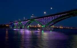 Preview wallpaper Peace Bridge, night, river, illumination, between Canada and USA
