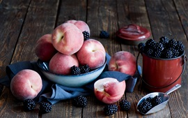 Preview wallpaper Peaches, blackberries, fruit, bowl