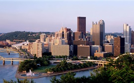 Pennsylvania, skyscrapers, city, bridge, river, trees