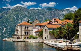 Preview wallpaper Perast, Montenegro, houses, river, mountains, palm trees