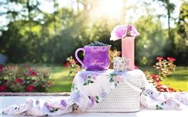 Пикник, черника, розы, чашка, корзина, солнце