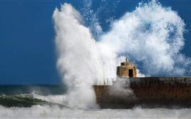 Preview wallpaper Pier, breakwater, sea waves splash