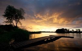 Preview wallpaper Pier, dusk, bridge, lake, clouds, sunset