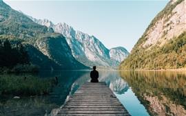 Preview wallpaper Pier, lake, mountains, lonely man