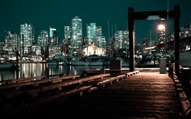 Preview wallpaper Pier, night, boats, buildings, city, lights