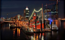Cais, noite, luzes, farol, mar, navios, embarcações, Hamburgo, Alemanha