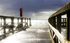 Pier, wood bridge, waves, water splash, glare, sunshine