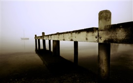 Pier, wood, lake, boats, fog, morning