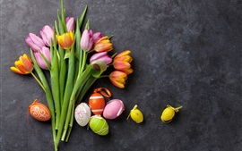 Preview wallpaper Pink and orange tulips, colorful eggs