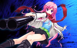 Preview wallpaper Pink hair anime girl, gun, scarf
