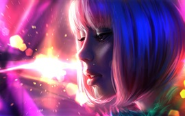 Preview wallpaper Pink hair fantasy girl, shine, glare