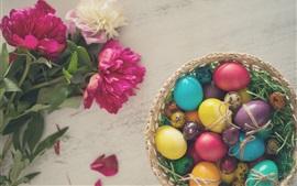 Pink peonies, colorful eggs, Easter