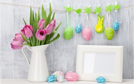 Preview wallpaper Pink tulips, Colorful Easter eggs, clothespins