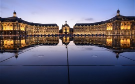 Preview wallpaper Place de la bourse, Bordeaux, France, night, lights, buildings