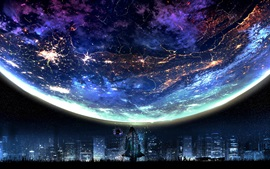 Preview wallpaper Planet, city night, fiction, lights, art design