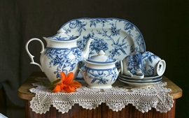 Preview wallpaper Porcelain, tea set, cups, kettle