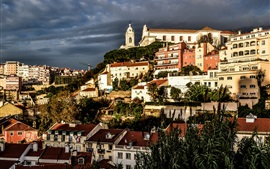 Preview wallpaper Prazeres, Lisbon, Portugal, city, houses, dusk
