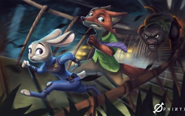 Preview wallpaper Rabbit and fox, Disney cartoon, Zootopia