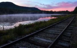 Estrada de ferro, rio, grama, nevoeiro, manhã