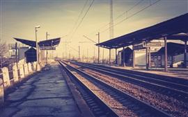 Estação ferroviária, estação, trilha, fio