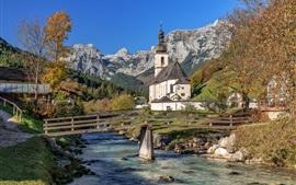 Рамзау, Баварские Альпы, Германия, церковь, город, деревья, река, мост