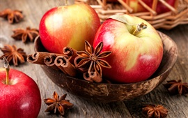 Red apples, cinnamon, spices