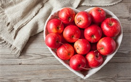 Preview wallpaper Red apples, love heart bowl, cloth