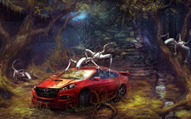 Preview wallpaper Red car and cyborgs, forest, creative design