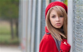 Preview wallpaper Red clothes, blonde girl, hat, wire fence