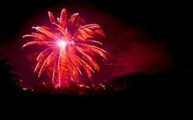 壁紙のプレビュー 赤い花火、夜、市、休日