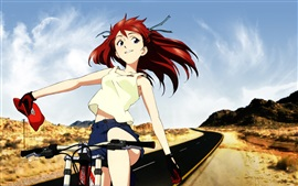 Preview wallpaper Red hair anime girl, happy, wind, bike