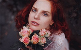 Preview wallpaper Red hair girl and pink roses