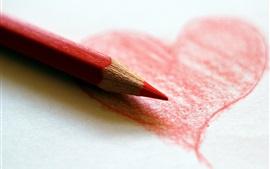 미리보기 배경 화면 붉은 사랑 마음, 그리기, 색깔 연필