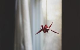 壁紙のプレビュー 赤い折り紙クレーン